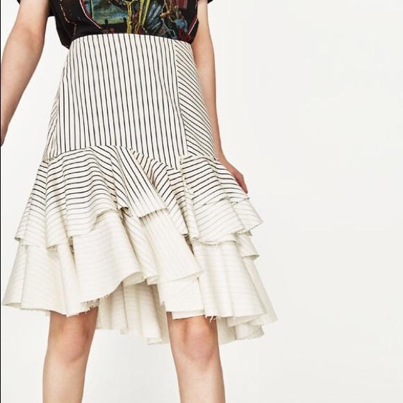 77cd8bdbaa Zara Skirts | Striped Frilled Layered Frayed Denim Skirt | Poshmark